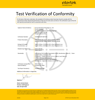 Celebrate CDT are approved ICAO certificate of high intensity obstruction light type A&B