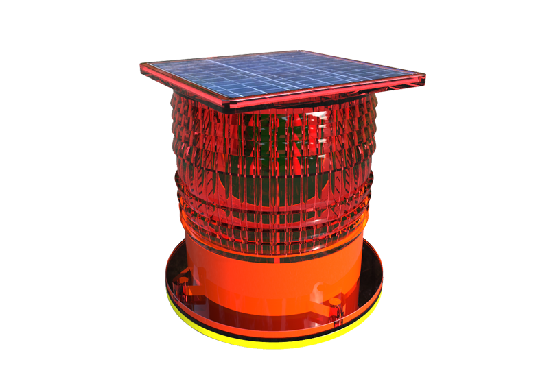 Solar low intensity aviation obstruction light with steady quality over 32cd and low power consumption with 3W