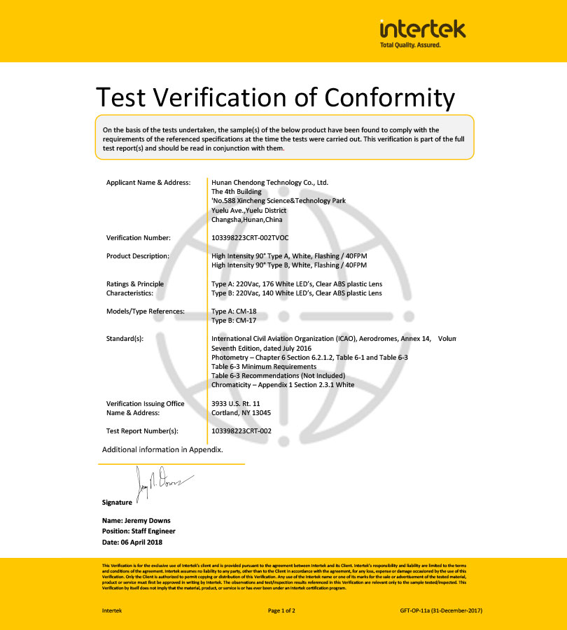 Celebrate CDT are approved ICAO certificate of high intensity obstruction light type A