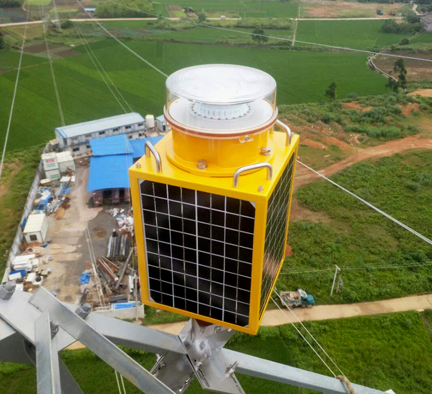 100 pcs Infra-Red Solar power Medium Intensity Aviation obstruction lights have been installed on Electrical Power Towers.