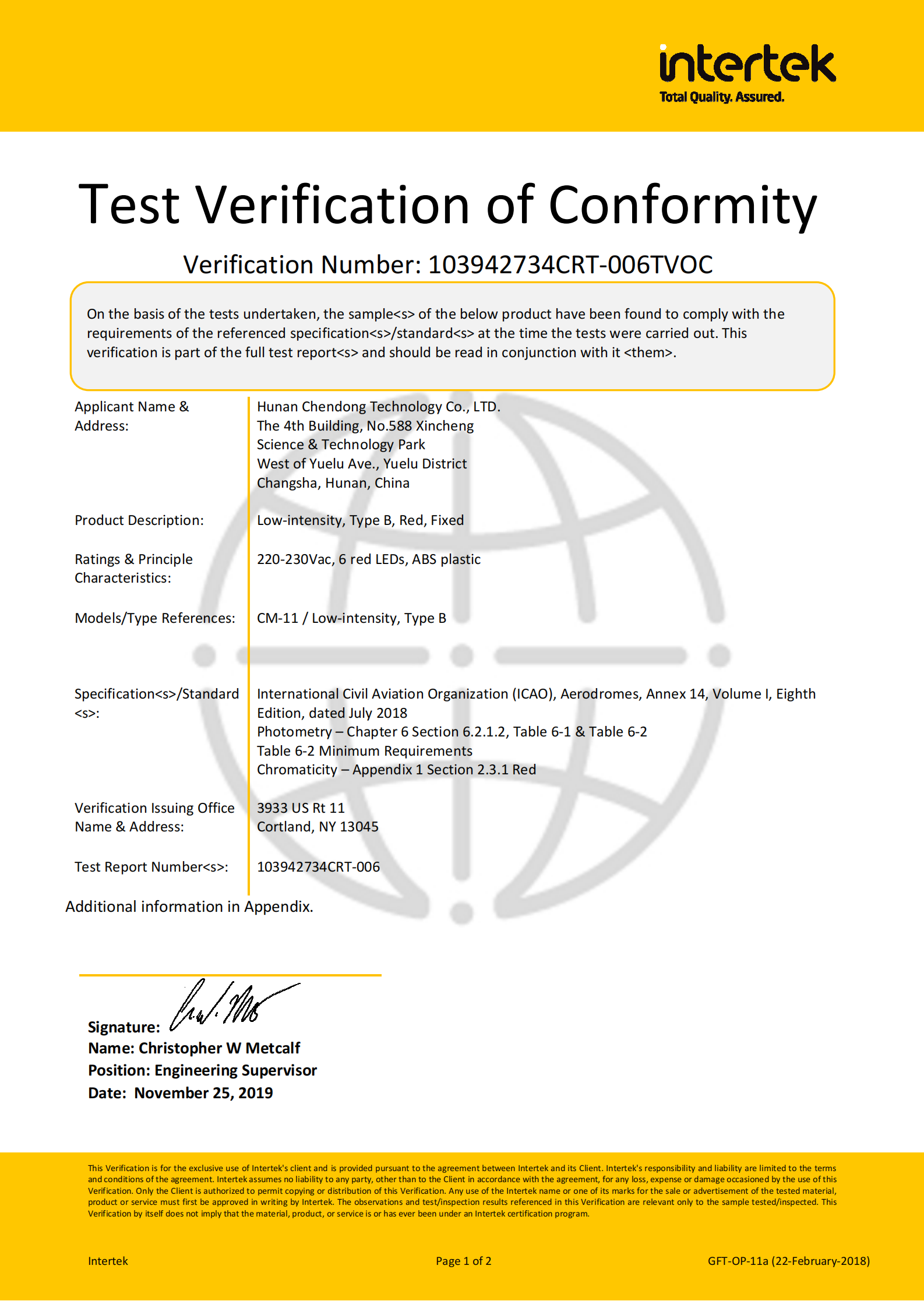 Congratulats CDT low intensity LED aircraft warning light passed the BV Conformity